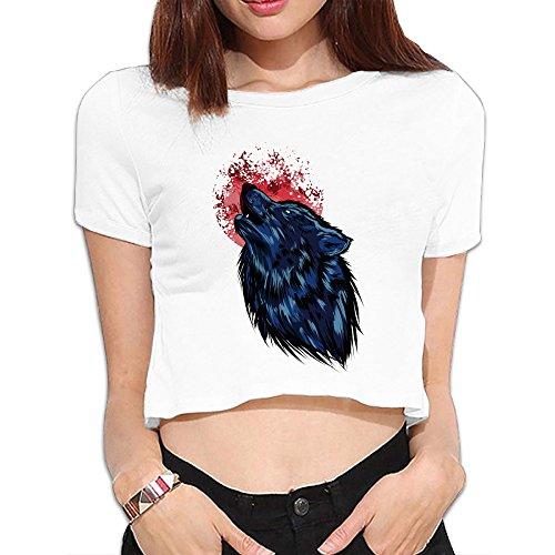 Cute Tshirt Crimson Moon Wolf Crop Top For Lady