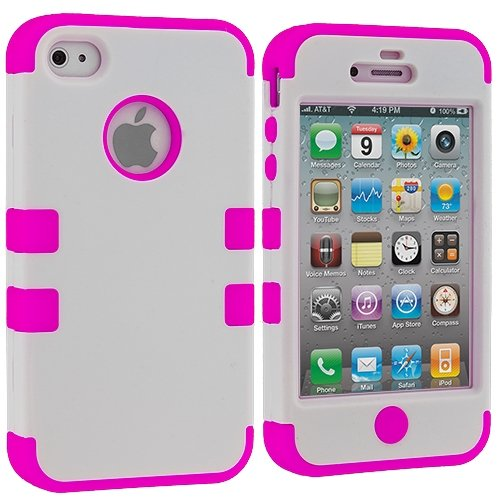 White / Hot Pink Tuff Hybrid Premium Rugged Hard Soft Case Skin Cover For Apple Iphone 4 4G 4S