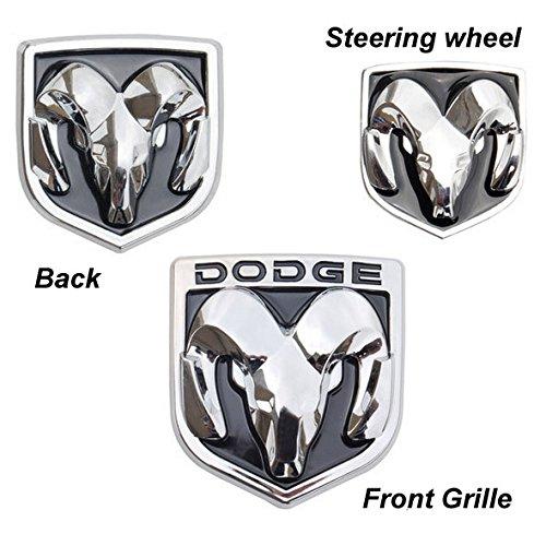 BENZEE 3pcs Set AM109-B Black Dodge Front Hood + Back Rear + Steering Wheel Car Emblem Badge Sticker (Dodge Emblem For Steering Wheel compare prices)