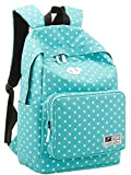 eKingstore Polka Dot Canvas Unisex Women and Man Canvas Rucksack Casual Daypack Backpack Laptop Backpack College Bookbag Book Tote Bag for Teens Students School Bags (Blue)