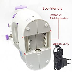 Sewing Machine,LSS-202,Mini 2-Speed Double Thread, Double Speed, Portable Sewing Machine With Light and Cutter/ Automatic Thread Rewind Function, White/Purple
