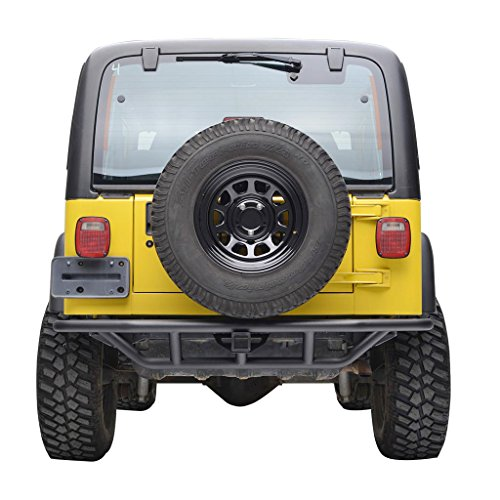 "E-Autogrilles Black Rear Steel Tubular Bumper for Jeep Wrangler TJ YJ with 2"" Hitch Receiver"