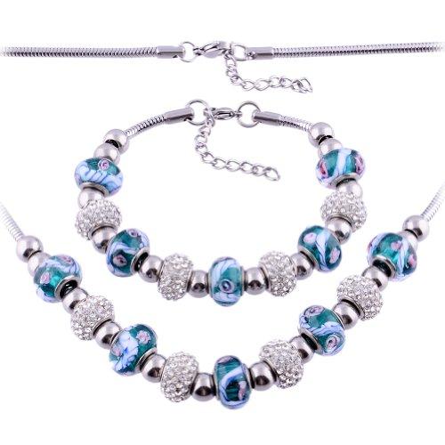 Kadima Stainless Steel Pandora Set Bracelet and Necklace,Bracelet 7.5 Inches, Necklace 18 Inches