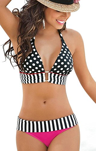 Girl's 2pcs Set Polka Dots Padded Bikini Top with Square Butter Swimsuit Swimwear (Bra Bikini Top compare prices)