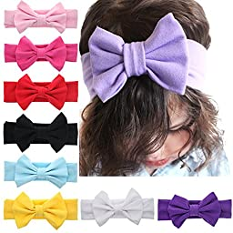 Iversan Newborn Baby Headwraps Turban Headband Knotted Hair Band(9pcs)