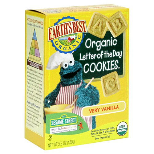 Earths Best Sesame Street Letter of the Day Cookies - Vanilla - 5.3 oz