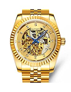 Jo's Love Men's Watch Business Style All Gold 18K Skeleton Ultra Thin Automatic Mechanical Movement