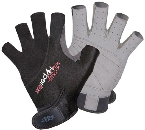 Hyperflex Wetsuits Men's 3/4 Finger Glove, Black, Large - Surfing, Windsurfing & Wakeboarding (Water Sports Gloves compare prices)