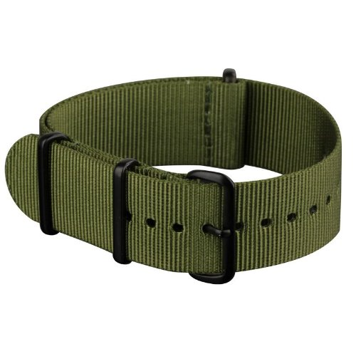 INFANTRY Military Green NATO Watch Band Nylon Fabric Strap G10 4 Rings 22mm Divers Black Hardware Strong #WS-NATO-BG-22M