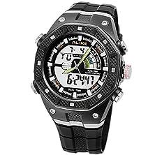 buy High Quanlity Multifunction Dual Display Sports Watches Diving Watch Original Brand Ak9140 Luminous Watch Alarm Calendar Watch (Grey)