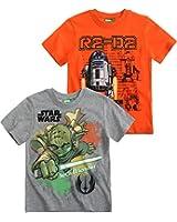 Star Wars-The Clone Wars Darth Vader Jedi Yoda Garçon Lot de 2 T-Shirts 2015 Collection - gris