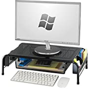 SimpleHouseware Metal Desk Monitor Stand Riser with Organizer Drawer