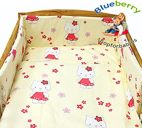 "Blueberry ShopBambino Lettino Copriletto Copripiumino e federa 47""X59"" 120Cmx150Cm Crema Kitty"