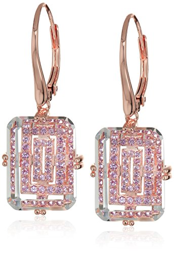 Rose-Gold-Plated-Sterling-Silver-Emerald-Shape-Genuine-White-Crystal-16x12x5mm-and-Round-Created-Pink-Sapphire-Dangle-Lever-Back-Earrings