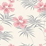 Candytuft (Pink / Silver / Off-White) - M0628 - Freya - Mauritius - Crown Wallpaper