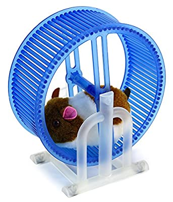 Happy Hamster Spinning Exercise Wheel Children's Kid's Electronic Toy Pet Playset w/ Hamster, Wheel, Stand (Colors May Vary)