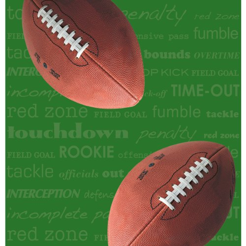 "Creative Converting First and Ten 54"" x 108"" Rectangle Plastic Tablecover, Football"
