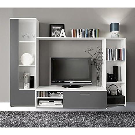 Finlandek meuble tv mural pilvi 220cm blanc et gris