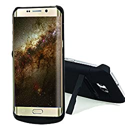 Galaxy S6 edge Battery Case, SQdeal 4200mAh Portable Rechargeable External Battery Backup Charger Case Power Bank Shockproof Case for Samsung Galaxy S6 edge G9250 - Built-in Kickstand