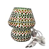 Priyal Artz Multi Colored Table Lamp With Bed Side On/Off Switch And Brass Holder - B00MA0JLR6