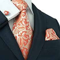 Landisun 189 Bright Orange Paisleys Mens Silk Tie Set: Tie+Hanky+Cufflinks