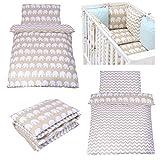 Sevira Kids - Juego de cama infantil reversible de 2 piezas (100% algodón ecológico), diseño de elefantes y zigzag beige beige Talla:90 x 120