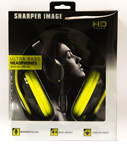 Sharper Image Shp2200Yl 3.5 Mm Ultra Bass Headphones With Mic, Fabric Cable Yellow
