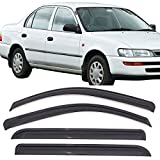 Window Visors Fits 1993-1997 Toyota Corolla | Dark Smoke Car Rain Sun Window Shade Guard Visor Smoke by IKON MOTORSPORTS| 1994 1995 1996