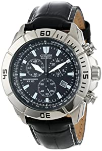 "Citizen Men's AT0810-12E ""Eco-Drive"" Stainless Steel and Leather Watch"