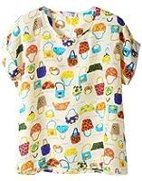 Women Girl Short Sleeve Casual Loose Pattern Print Chiffon Blouse Top T-shirt