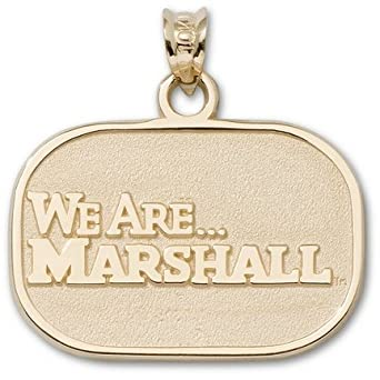 Marshall Thundering Herd 5 8 Oval We are Marshall Pendant - 10KT Gold Jewelry by Logo Art