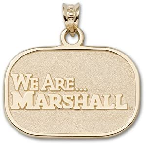 Marshall Thundering Herd 5 8 Oval We are Marshall Pendant - 14KT Gold Jewelry by Logo Art