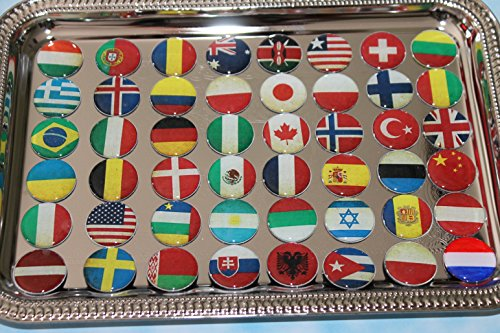 Geocache One Inch Domed Magnets - 48 World Flags Set With Print front-280667