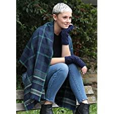 Handwoven Merino Wool Scarf Tartan Checks Navy Scarf