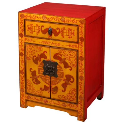 Cheap EXP Handmade Asian Furniture – 24″ Orange Chinese Storage Cabinet / End Table – Lucky Bats Design (B0015GV3RC)