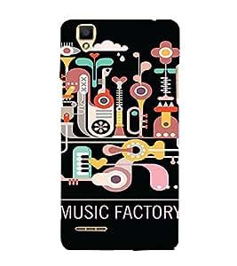 PrintVisa Cute Music Design 3D Hard Polycarbonate Designer Back Case Cover for Oppo F1