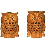 Set Of 2 Decorative Hand Carved Wooden Jali Owl Figure Statue