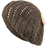 Swirl Knit Winter Ski Beret Knit Tam Hat Shiny Gray with Silver Threading