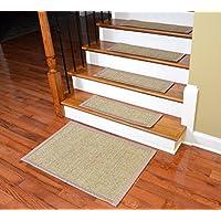 Dean Attachable Non-Slip Sisal Carpet Stair Tread Runner Rugs - Desert/Sand (Set of 13) Plus a Matching 2' x 3' Landing Mat