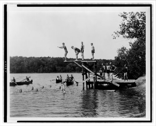 Historic Print (M): Water sports - Camp Tunkhannock - Pocono Lake, Pa.