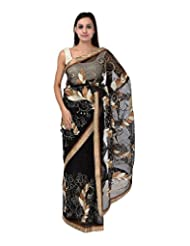 A1 Fashion Women Brasso & Net Black Saree With Blouse Piece - B00VUS05C4
