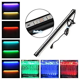 Deckey RGB Multi-color 18-Inch 16 Colors Changing Underwater Submersible Aquarium LED Light Air Pump Bubble Light Strip Fish Tank Fountain Light + Remote Controller