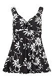 Bonmarche Womens Black White Flower Bow Swimdress