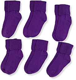 Jefferies Socks Little Girls\'  Seamless Turn Cuff  Socks (Pack of 6), Purple, Small