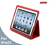 AYL Slim Leather Case Folio with Magnetic Closure for iPad 2 - Red