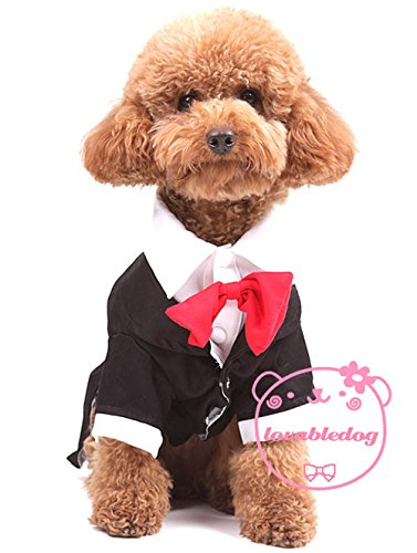 [Smalllee_Lucky_Store Tuxedo Suit Red Bowtie, Large, Black] (Business Suit Dog Costume)
