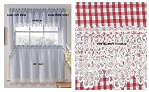 Checkmate Red Kitchen Curtain - Swag (pr)