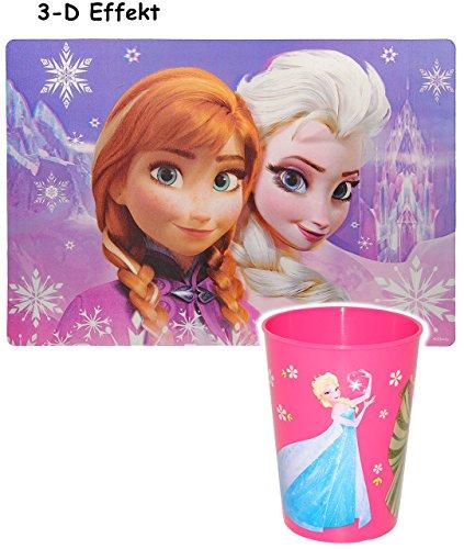 2-tlg-Set--3-D-Effekt-Unterlage-Trinkbecher-Disney-die-Eisknigin-Frozen-Tischunterlage-42-cm-29-cm-Platzdeckchen-Malunterlage-Knetunterlage-Eunterlage-Anna-Elsa-Arendelle-Olaf-vllig-unverfroren-Prinze