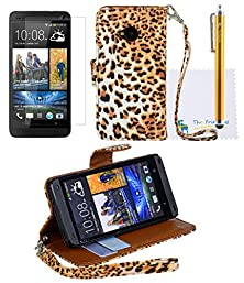 buy The Friendly Swede Basics - Pu Leather Stand Wallet Case Cover For Htc One M7 Only + Matching Stylus + Screen Protector + Cleaning Cloth (Brown Leopard)