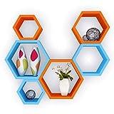 Jagdamba Furniture Wall Shelf Rack Set Of 6 Hexagon Shape Storage Wall Shelves For Home - Multi Colour